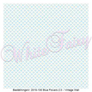 2016-100 Blue Flovers V2 - Vintage Wall